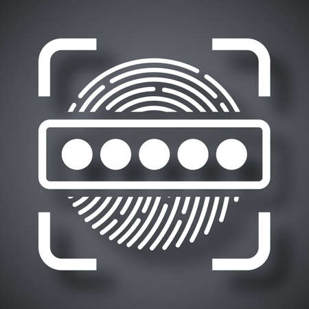 dactylogram: Vector Information Security Concept - Fingerprint Scanner and Password icon. Information Security Concept - Fingerprint Scanner and Password simple icon on a dark gray background Illustration