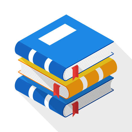 classbook: Books icon in flat style with long shadow on white background
