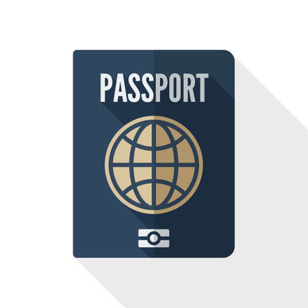 credential: Passport icon. Passport simple icon in flat style with long shadow on white background Illustration
