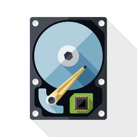 nas: HDD icon. Hard Disk Drive simple icon in flat style with long shadow on white background Illustration