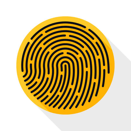 dactylogram: Fingerprint icon. Fingerprint simple icon in flat style with long shadow on white background