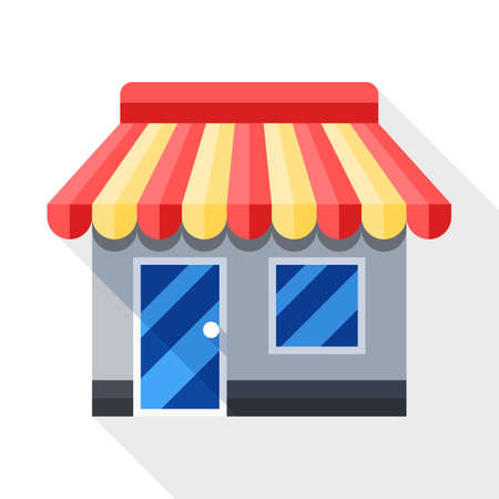 shopping malls: Store or Shop icon. Shop or Store simple icon in flat style with long shadow on white background