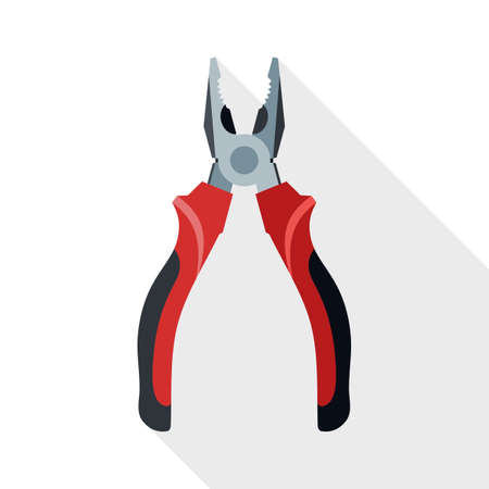 small tools: Open Pliers icon. Open Pliers simple icon in flat style with long shadow on white background