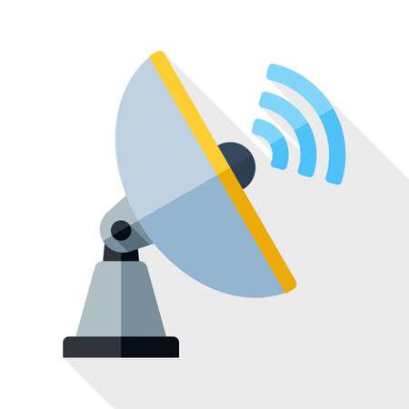 telecommunications technology: Satellite Antenna icon. Satellite Antenna simple icon in flat style with long shadow on white background Illustration