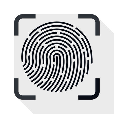 dactylogram: Fingerprint Scanner icon. Fingerprint Scanner simple icon in flat style with long shadow on white background Illustration