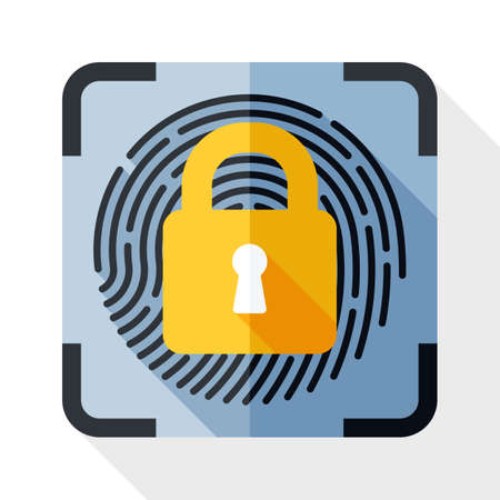 dactylogram: Fingerprint Scanner Locked icon. Fingerprint Scanner Locked simple icon in flat style with long shadow on white background. Security concept icon