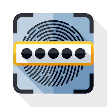 Information Security Concept - scanner di impronte digitali e l'icona password. Information Security Concept - scanner di impronte digitali e la password semplice icona in stile piatto con una lunga ombra su sfondo bianco