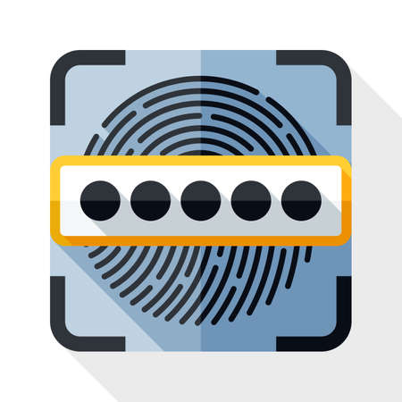 Informations Concept de sécurité - Scanner d'empreintes digitales et mot de passe icône. Informations Concept de sécurité - Scanner d'empreintes digitales et mot de passe simple icône dans le style plat avec ombre sur fond blanc