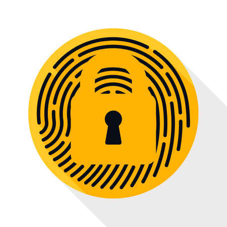 dactylogram: Touch id Fingerprint icon. Touch id Fingerprint simple icon in flat style with long shadow on white background