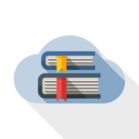 Cloud Library or Online Library icon. Online Library or Cloud Library simple icon in flat style with long shadow on white background