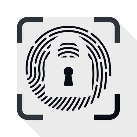 dactylogram: Fingerprint Scanner Locked icon. Fingerprint Scanner Locked simple icon in flat style with long shadow on white background Illustration