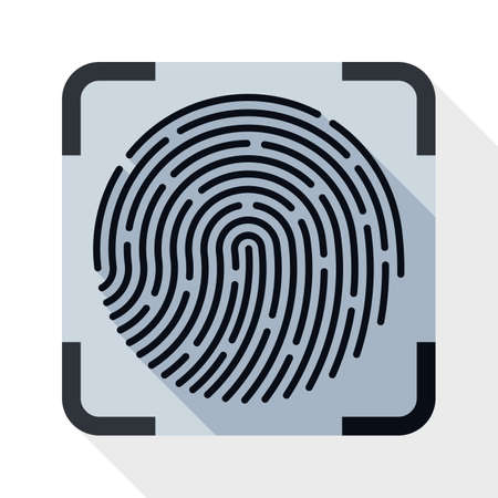 dactylogram: Fingerprint Scanning icon. Fingerprint Scanning simple icon in flat style with long shadow on white background