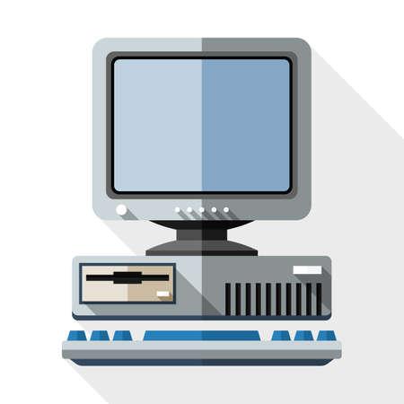 tecnología informatica: Icono de ordenador retro con el teclado y el icono del monitor CRT. Icono de ordenador viejo con el teclado y el monitor CRT icono de estilo sencillo plana con una larga sombra sobre fondo blanco Vectores