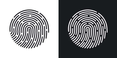 dactylogram: Fingerprint icon. Two-tone version of Fingerprint simple icon on black and white background Illustration