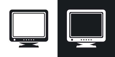 two tone: Retro Computer Monitor icon. Two-tone version of Old Computer Monitor simple icon on black and white background