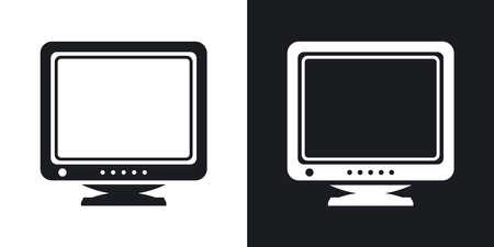 crt: Retro Computer Monitor icon. Two-tone version of Old Computer Monitor simple icon on black and white background