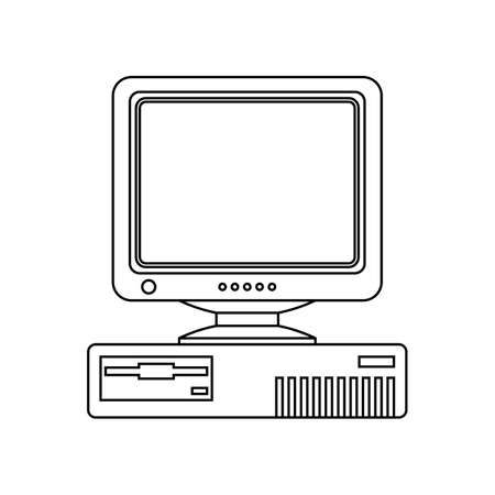 crt: Retro Computer icon with CRT Monitor. Outline version