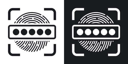 passwords: Information Security Concept - Fingerprint Scanner and Password icon. Illustration
