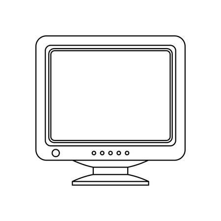 crt: Retro Computer Monitor Icon. Old Computer Screen Icon isolated on white background. Outline version of the Old Computer Display Icon