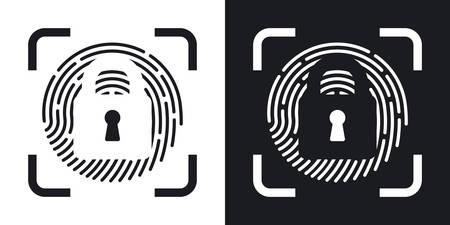 dactylogram: Vector Fingerprint Scanner Locked icon. Two-tone version of Fingerprint Scanner Locked simple icon on black and white background Illustration