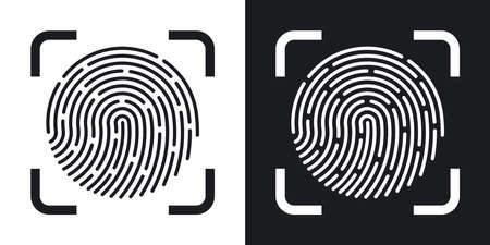 dactylogram: Vector Fingerprint Scanning icon. Two-tone version of Fingerprint Scanning simple icon on black and white background