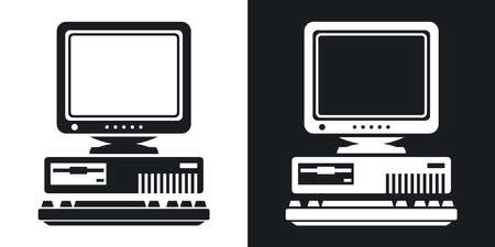 Vector Retro Computer Icon with Keyboard and CRT Monitor icon. Two-tone version of Old Computer Icon with Keyboard and CRT Monitor simple icon on black and white background