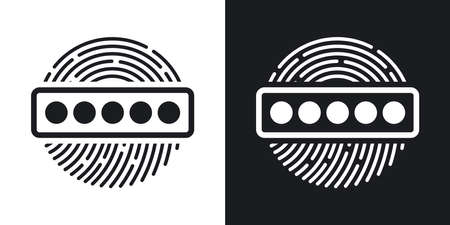dactylogram: Vector Fingerprint Password icon. Two-tone version of Fingerprint Password simple icon on black and white background