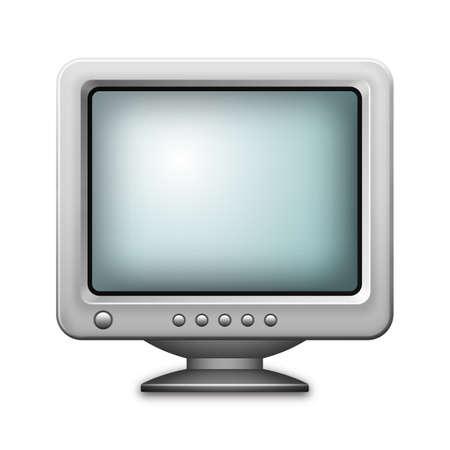 crt: Retro computer monitor icon isolated on white background. Realistic vector illustration Illustration