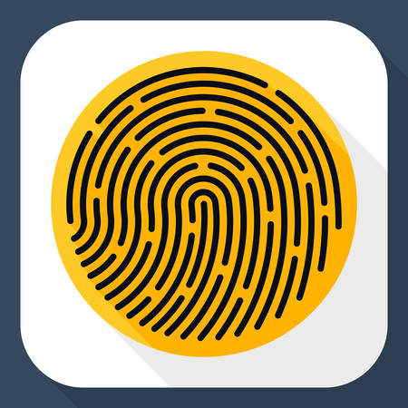dactylogram: Vector Fingerprint icon. Fingerprint simple icon in flat style with long shadow Illustration