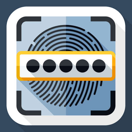 dactylogram: Vector Information Security Concept - Fingerprint Scanner and Password icon. Information Security Concept - Fingerprint Scanner and Password simple icon in flat style with long shadow