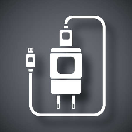 micro: Charger for Phone with micro USB Connector icon. Simple icon on a dark gray background