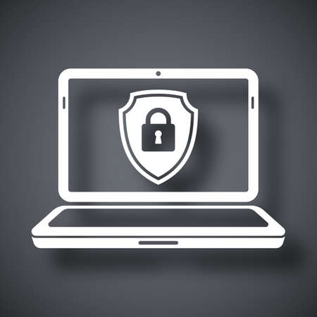 protective shield: Laptop icon with a protective shield symbol on a screen. Simple icon on a dark gray background