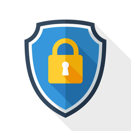 Protective shield icon with the image of a padlock. Security concept simple icon in flat style with long shadow on white background