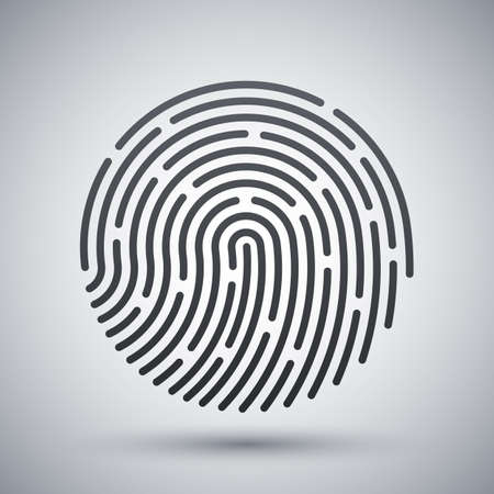 dactylogram: Fingerprint icon. Fingerprint simple icon on a light gray background