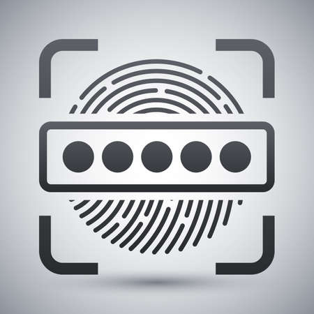 dactylogram: Information Security Concept - Fingerprint Scanner and Password icon. Information Security Concept - Fingerprint Scanner and Password simple icon on a light gray background