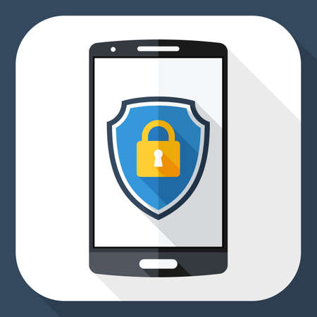 protective shield: Smartphone icon with a protective shield symbol on a screen. Simple icon in flat style with long shadow