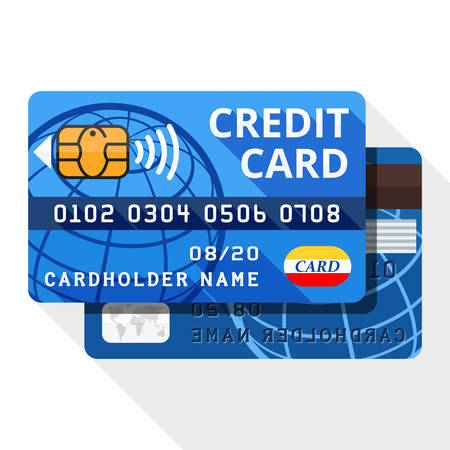 both sides: credit card icon from both sides with long shadow on white background Illustration