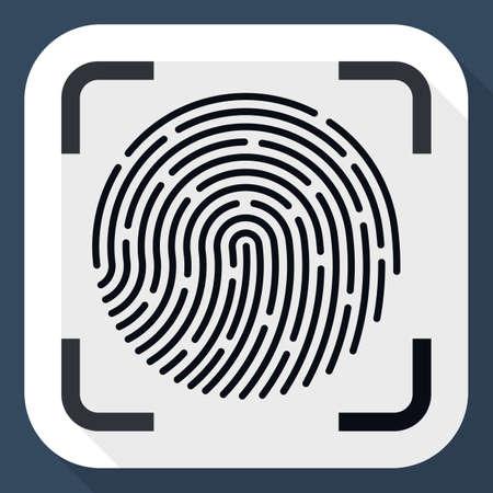biometrics: Vector Fingerprint Scanner icon. Fingerprint Scanner simple icon in flat style with long shadow Illustration