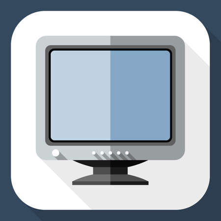 old style retro: Vector Retro Computer Monitor icon. Old Computer Monitor simple icon in flat style with long shadow Illustration