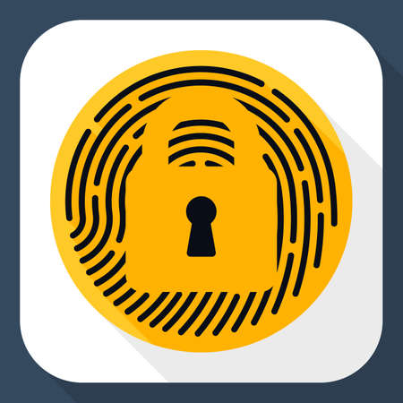 touch: Vector Touch id Fingerprint icon. Touch id Fingerprint simple icon in flat style with long shadow