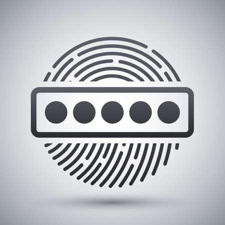 dactylogram: Vector Fingerprint Password icon. Fingerprint Password simple icon on a light gray background Illustration
