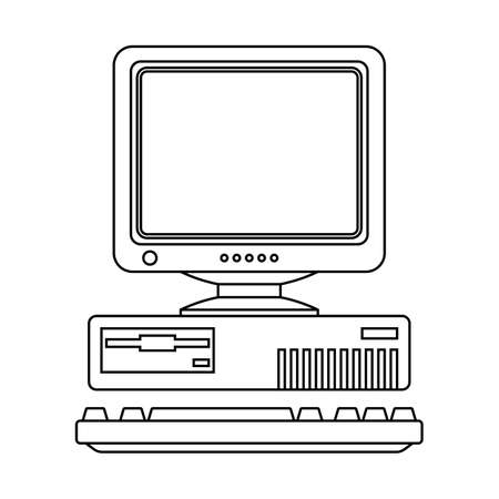 retro computer: Retro Computer Icon with Keyboard and CRT Monitor. Outline version