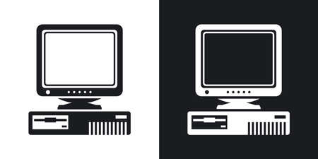 Vector Retro Computer with CRT Monitor icon. Two-tone version of Old Computer with CRT Monitor simple icon on black and white background