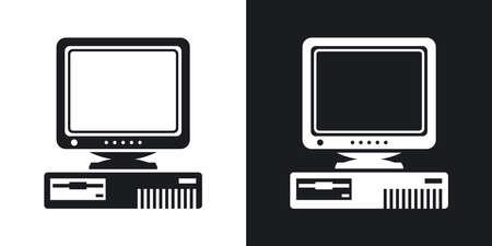 Vector Retro Computer met CRT Monitor icoon. Two-tone versie van oude computer met een CRT Monitor eenvoudige pictogram op zwarte en witte achtergrond