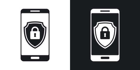 protective shield: Vector Smartphone icon with a protective shield symbol on a screen. Two-tone version of Smartphone simple icon on black and white background Illustration