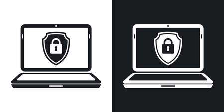 protective shield: Vector Laptop icon with a protective shield symbol on a screen. Two-tone version of Locked Laptop simple icon on black and white background