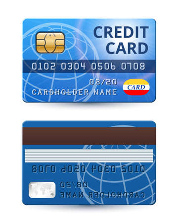 remittance: Credit card from both sides, realistic vector Illustration