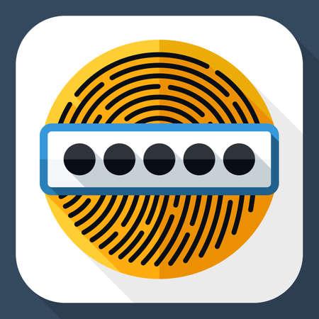 dactylogram: Vector Fingerprint Password icon. Fingerprint Password simple icon in flat style with long shadow