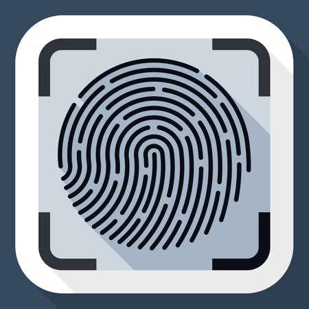 dactylogram: Vector Fingerprint Scanning icon. Fingerprint Scanning simple icon in flat style with long shadow