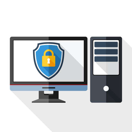 protective shield: Vector Desktop computer icon with a protective shield symbol on a monitor. Simple icon in flat style with long shadow on white background